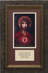 For God So Loved The World - Ornate Dark Framed Matted Canvas with Prayer