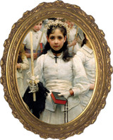 After the First Holy Communion (Detail 1 Girl) - Oval Framed Canvas