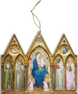 Madonna Enthroned with Saints and Angels Triptych Wood Ornament