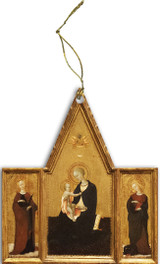 Madonna of Humility with Sts. Apollonia and Margaret Triptych Wood Ornament