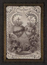Sacred and Immaculate Hearts French Lithograph - Dark Framed Art