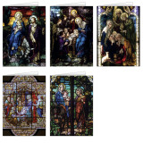 Stained Glass Christmas Cards Set (25 Cards)