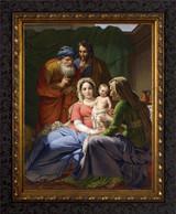 Holy Family with Grandparents Joachim and Anne - Ornate Dark Framed Art