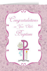 Child's Baptism Pink Greeting Card