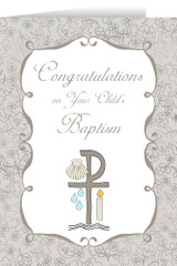 Child's Baptism Grey Greeting Card