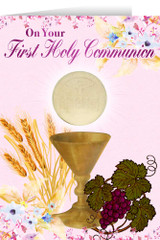 Pink Spring Chalice First Communion Greeting Card