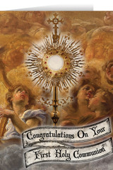 Monstrance and Angels First Communion Greeting Card