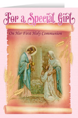 Jesus and Mary Girl's First Communion Greeting Card