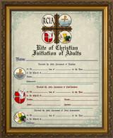RCIA Sacrament Certificate of Initiation in Gold Frame