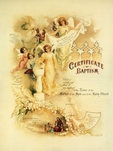 Traditional Baptism Sacrament Certificate with Angels and Christ Unframed