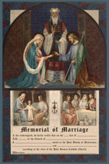 Traditional Joseph and Mary Memorial of Marriage Certificate Unframed