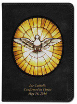 Personalized Catholic Bible with Stained Glass Dove Cover - Black NABRE
