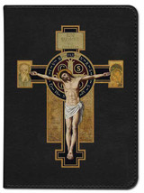 Personalized Catholic Bible with Benedictine Cross Cover - Black NABRE