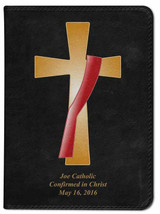 Personalized Catholic Bible with Deacon's Cross Cover - Black NABRE