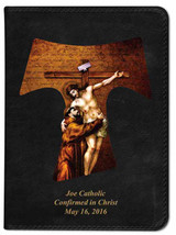 Personalized Catholic Bible with St. Francis Tau Cross Cover - Black NABRE