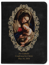 Personalized Catholic Bible with Madonna and Her Child Cover - Black NABRE