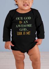 Awesome God Long-Sleeve Black Baby Onesie