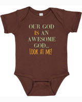 Awesome God Brown Baby Onesie