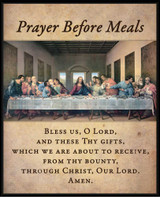 Prayer Before Meals with the Last Supper by Da Vinci Restored Wall Plaque
