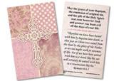 Carved Cross Pink Baptism Holy Card