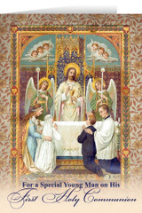 Young Man's First Communion Greeting Card