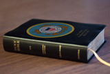 Personalized Catholic Bible with Coast Guard Cover - Black Bonded Leather RSVCE