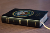 Personalized Catholic Bible with Navy Cover - Black Bonded Leather RSVCE