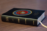Personalized Catholic Bible with Marine Cover - Black Bonded Leather RSVCE