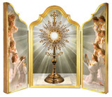 Monstrance with Angels Adoring Triptych Plaque