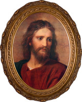 Christ at 33 by Hoffman - Oval Framed Canvas
