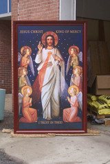 King of Divine Mercy Church-Sized Cherry Framed Canvas