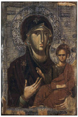 Virgin Hodegetria (Our Lady of the Way) Rustic Wood Icon Plaque