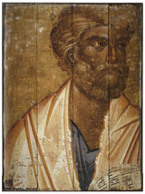 St. Peter Rustic Wood Icon Plaque