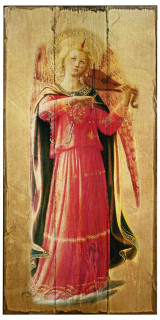 Fra Angelico Angel with Violin Rustic Wood Plaque