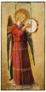 Fra Angelico Angel with Tambourine II Rustic Wood Plaque