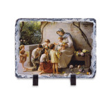 Adoration (Mary and Jesus with Children) by Guiseppe Magni Horizontal Slate Tile