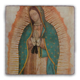 Our Lady of Guadalupe Detail Square Tumbled Stone Tile