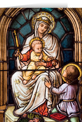 Madonna with Child Stained Glass Christmas Cards (25 Cards)