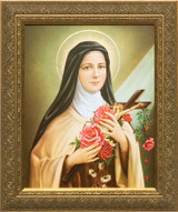 St. Therese of Lisieux - Gold Framed Canvas