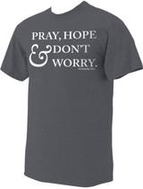 """Pray, Hope & Don't Worry"" St. Padre Pio Heather Charcoal T-Shirt"