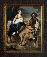 Flight into Egypt by Murillo - Dark Ornate Frame