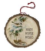 "Vintage ""Warm Winter Wishes"" Sparrow in Pine Wood Ornament"