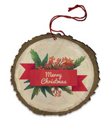 "Vintage ""Merry Christmas"" Poinsettia and Pine Wood Ornament"