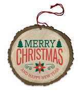 "Vintage ""Merry Christmas and Happy New Year"" Poinsettia and Christmas Tree Wood Ornament"