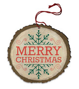 "Vintage ""Merry Christmas"" Snowflake Wood Ornament"