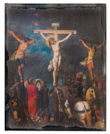 Crucifixion by Frans Francken Rustic Wood Plaque