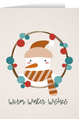 Warm Winter Wishes with Snowman Christmas Cards (box of 25)