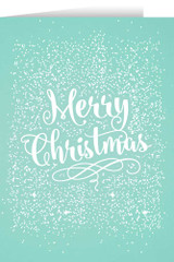 Merry Christmas Teal with White Snow Christmas Cards (box of 25)