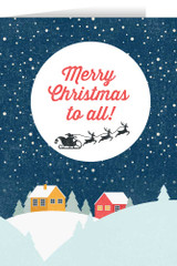 Merry Christmas to All with Flying Sleigh Christmas Cards (box of 25)