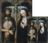 Christ Crowned with Thorns, and the Mourning Virgin by Adriaen Isenbrant Rustic Wood Plaque